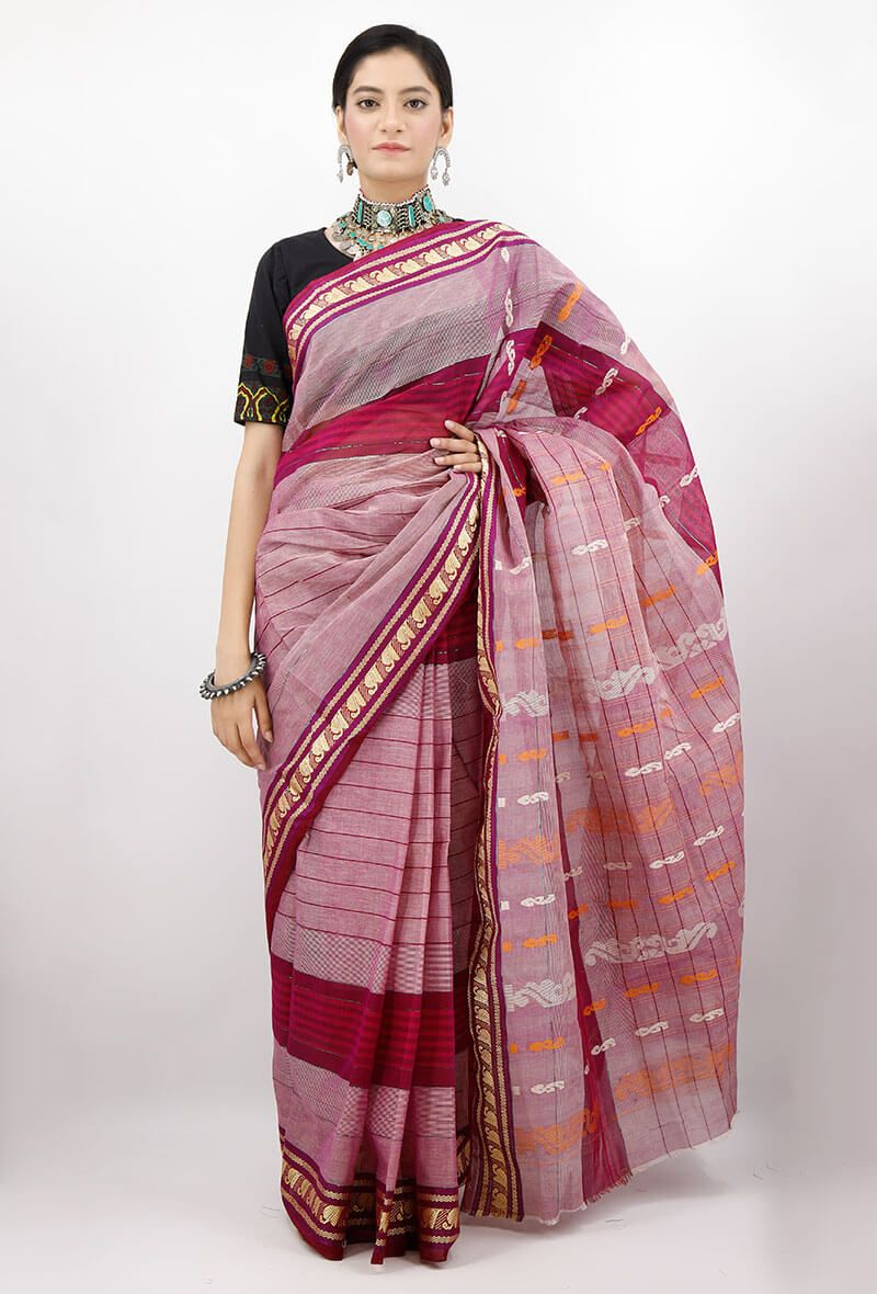 ac71ca7e8b Beautiful and traditionally Indian, this handloom cotton saree has been  woven by the skilled artisans