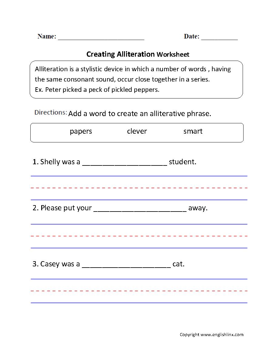 Creating Alliteration Worksheet
