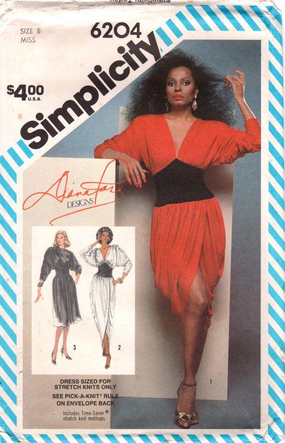 Simplicity 6204 1980s Disco Dress Pattern Corset Midriff