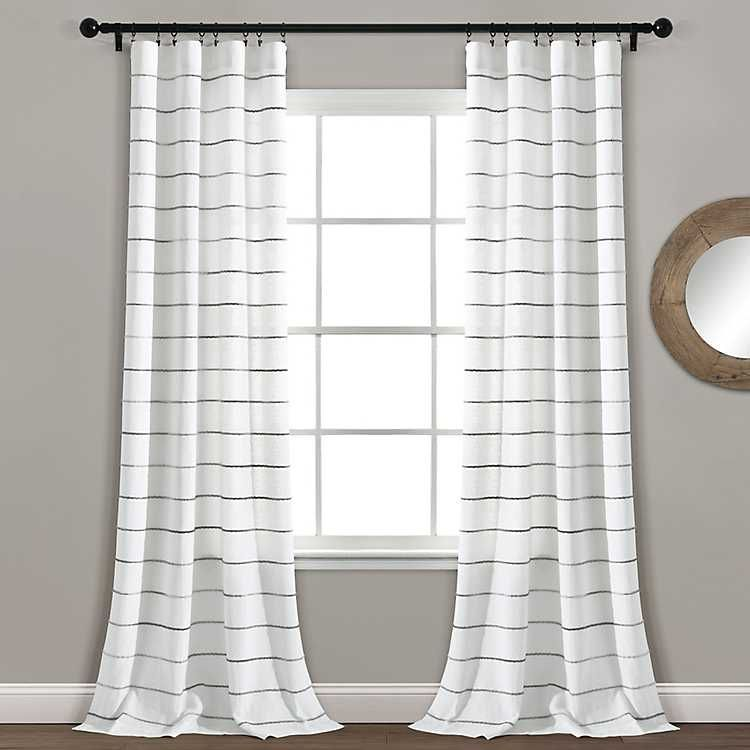 Gray Ombre Stripe Curtain Panel Set 84 In In 2020 Panel Curtains Striped Curtains Colorful Curtains
