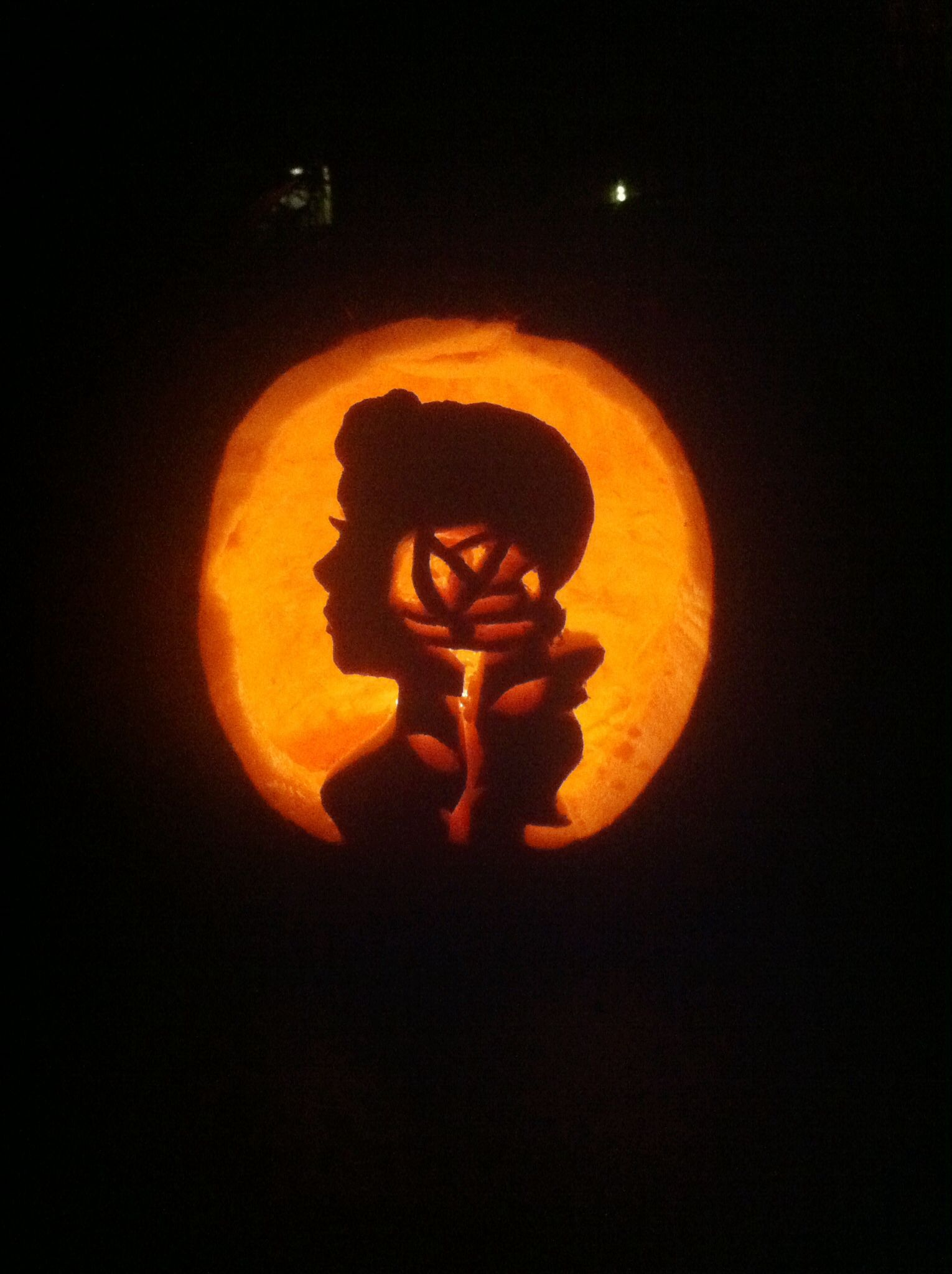 Wa walking dead pumpkin stencil - Beauty And The Beast Belle Pumpkin Carving With Rose In Silhouette
