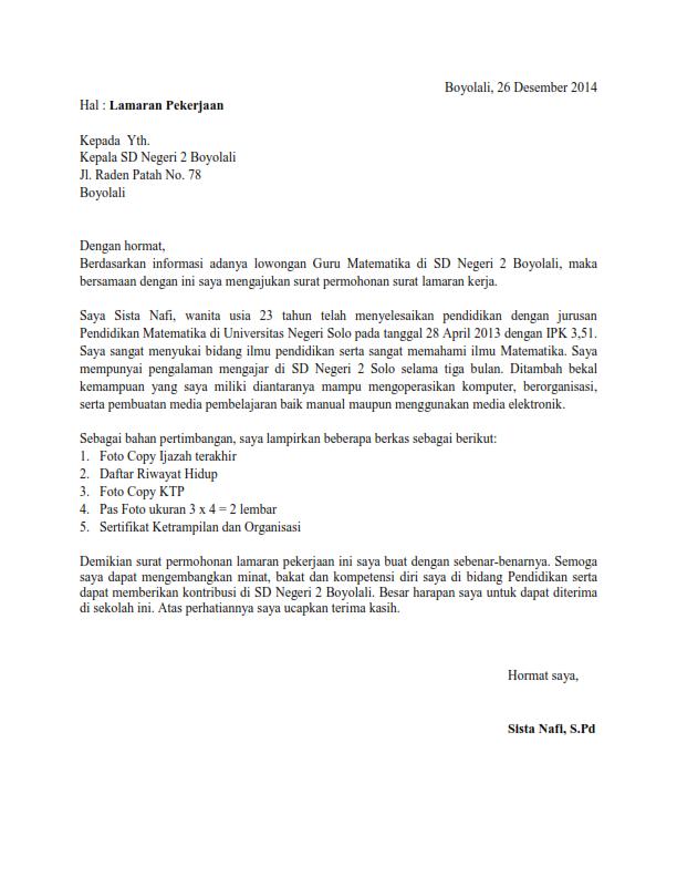 Contoh Surat Lamaran Kerja Guru Matematika Matematika