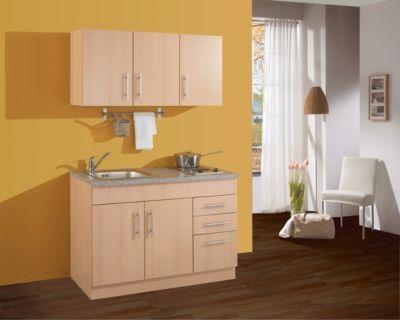 Single küche  HELD Möbel Single-Küche Dallas 120 cm - Melamin Buche Nachbildung ...