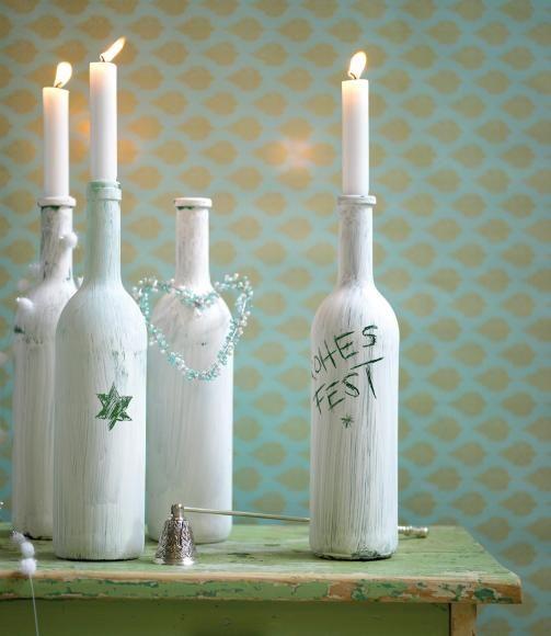 weihnachtsdeko stimmungsvolle dekoideen weihnachtliche kerzenst nder aus weinflaschen diy. Black Bedroom Furniture Sets. Home Design Ideas