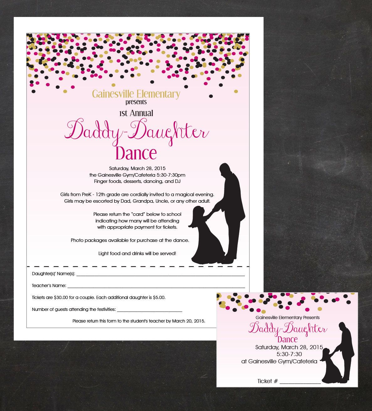 Daddy Daughter Dance Father And Dancing Event Custom Printable Package Flyer Tickets Poster Pta Pto Or Church