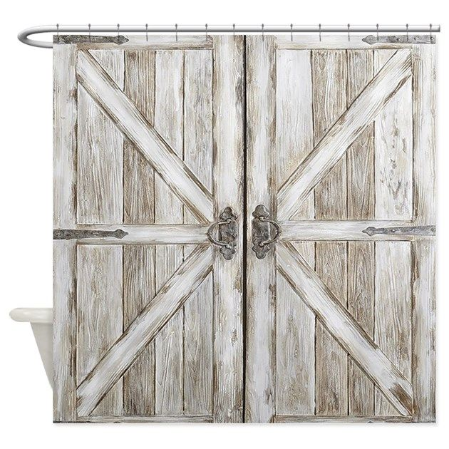 Distressed Barn Doo Wood Plank Tile Shower Curtain By Pick Your Perfect Originals Cafepress Rustic Doors Rustic Barn Door Wood Doors Interior