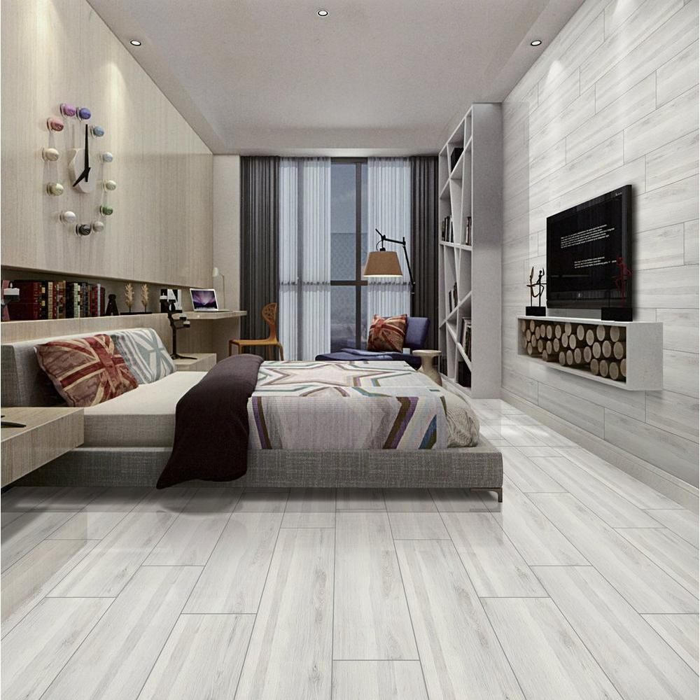 Hadley Gray Polished Wood Plank Ceramic Tile Ceramic Wood Tile Floor Tile Floor Living Room Living Room Tiles