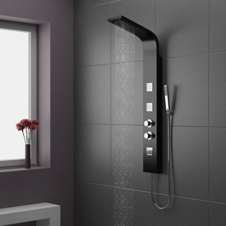Superieur Maverick Thermostatic Shower Panel   Black   BSP001   Rainfall, Hand Held  AND Body Jets