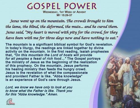 Gospel Power – Wednesday 1st Week of Advent