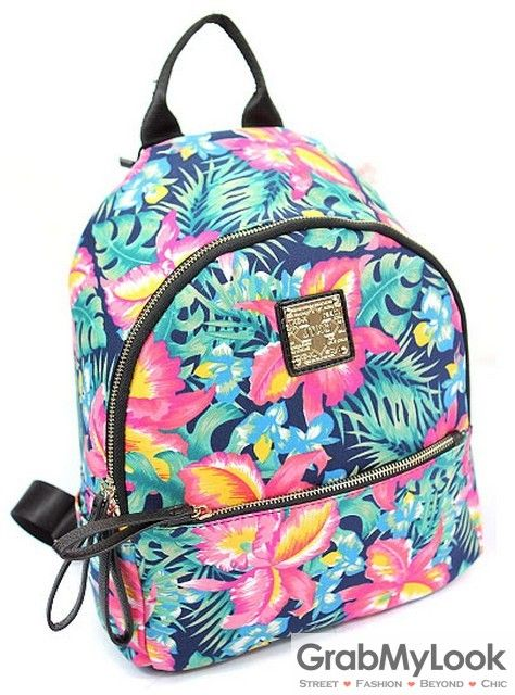 GrabMyLook Hawaiian Summer Flowers Floral Punk Rock Funky Backpack Funky  Backpacks 13303a1462138