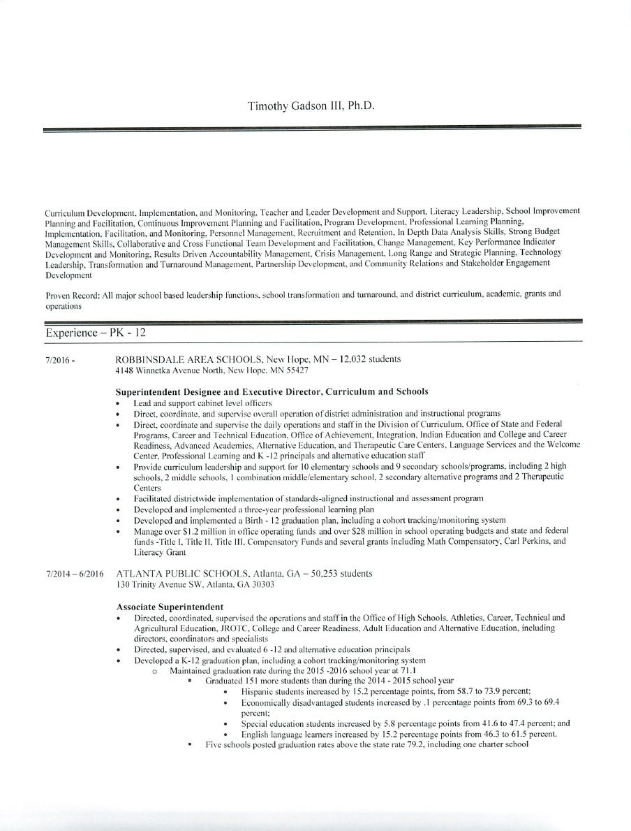 Dr timothy gadson iii cover letter and resume for