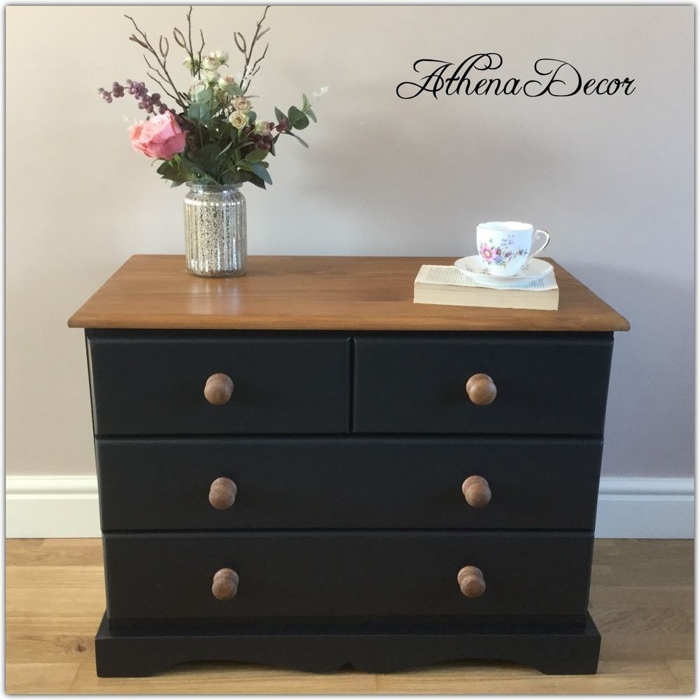 LOVELY SHABBY CHIC PINE CHEST OF DRAWS,HAND PAINTED IN FARROW AND BALL OFF-BLACK in Home, Furniture & DIY, Furniture, Chests of Drawers | eBay!
