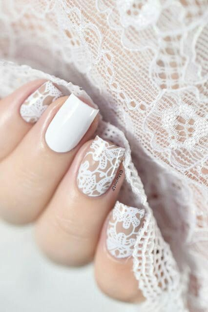 Dentelle Blanche Nail Art Lace Nails White Lace Nails Lace