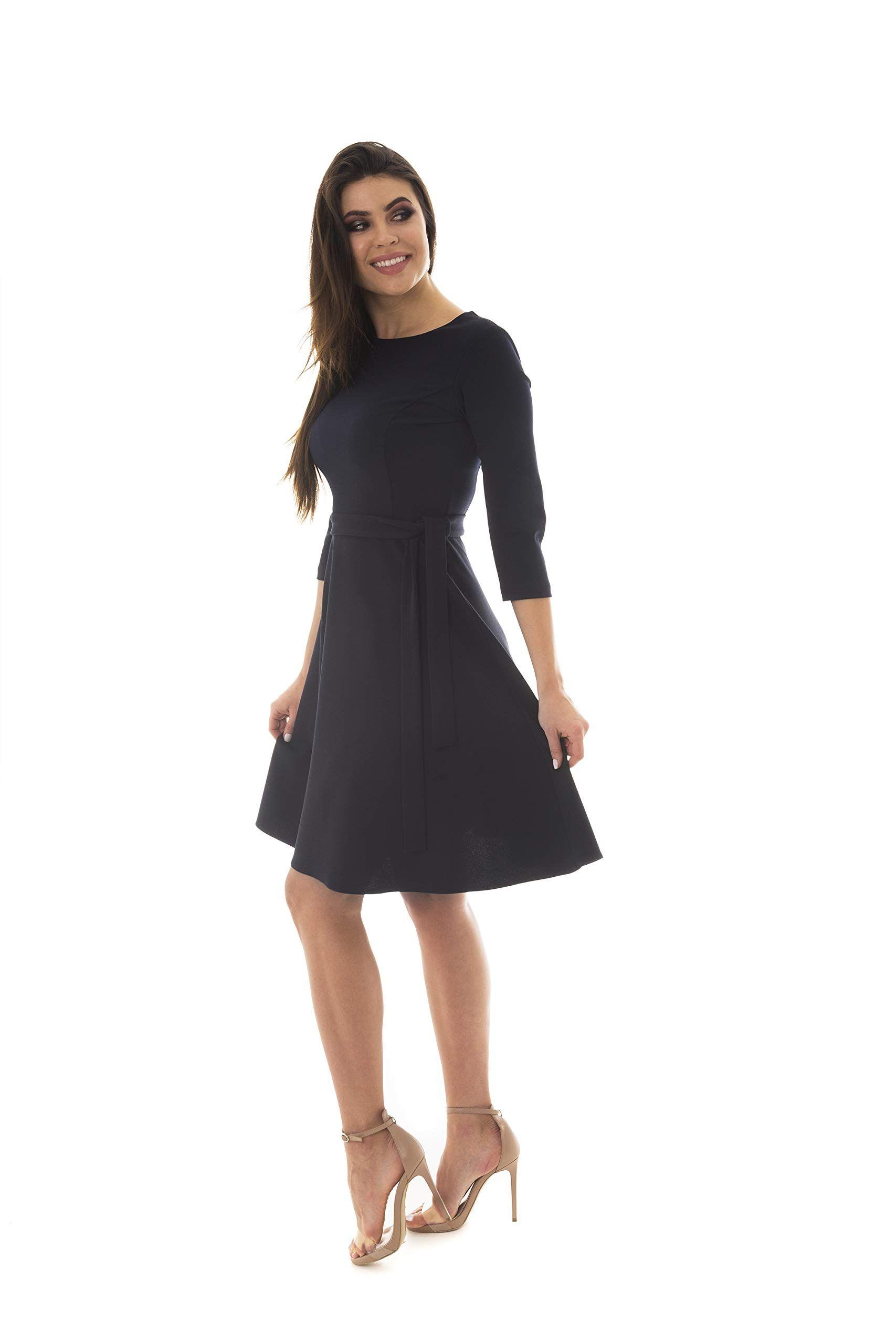 7431d2d12392a Women's Elegant Modest 3/4 Sleeve Crewneck Belted Semi Formal Midi Work  Office Dress