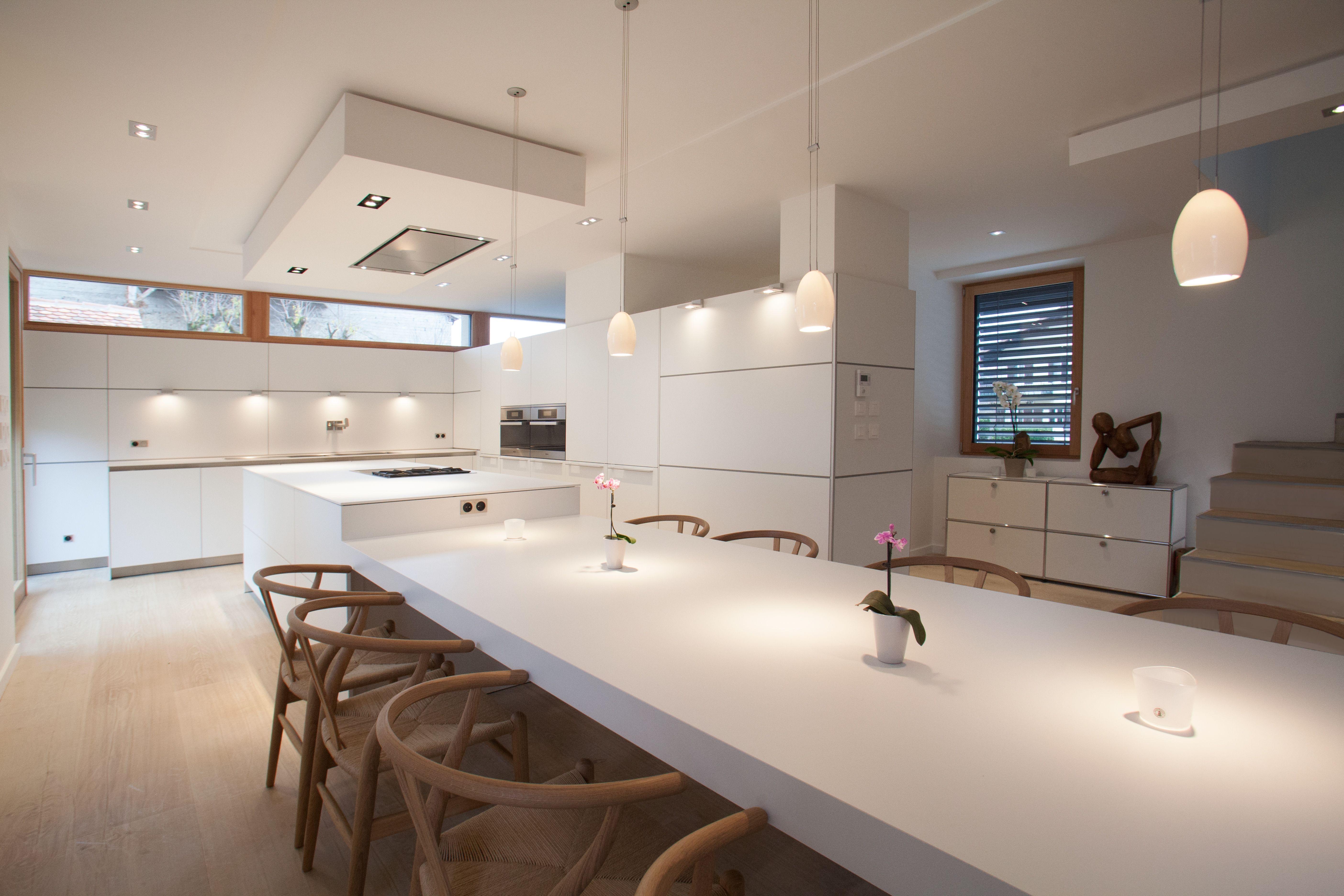 cuisine bulthaup b3 stratifié blanc table c2 chaise ch 24 carl