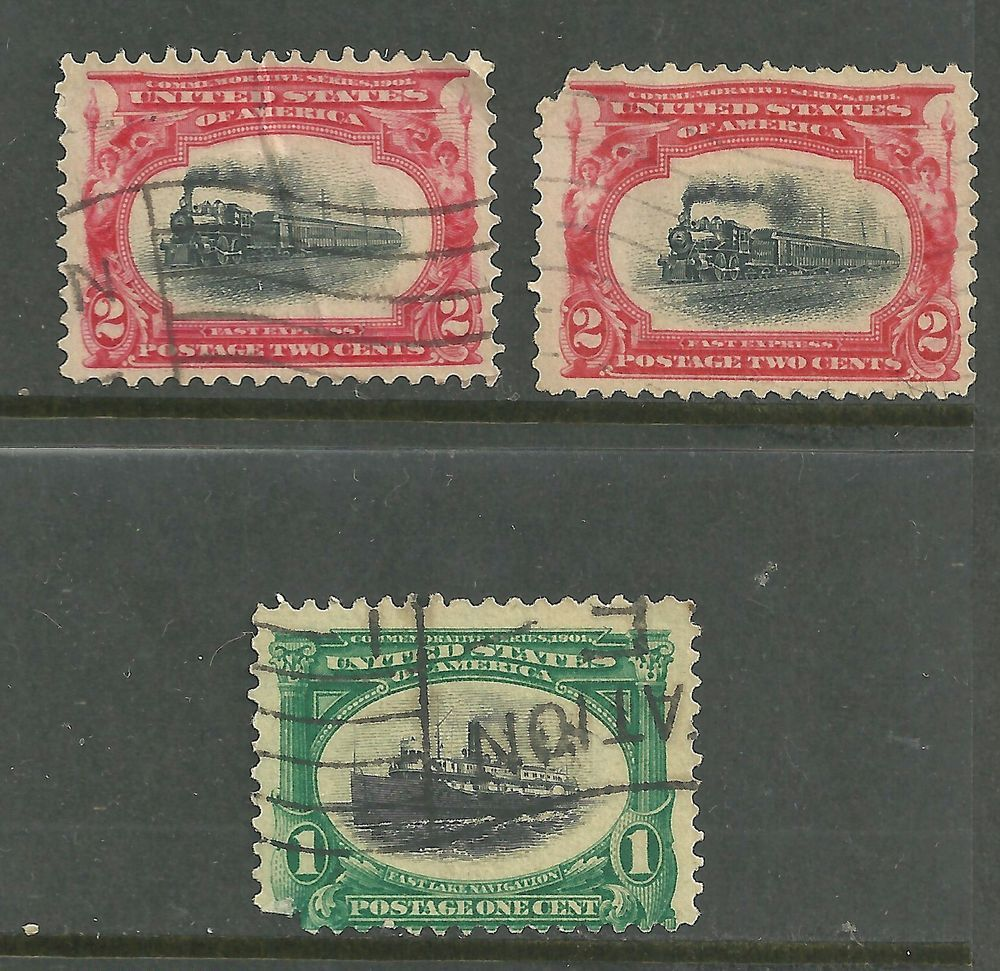 US 1901 Pan-American Exposition, # 294 - 1¢ Fast Lake Navigation,  # 295 Faults