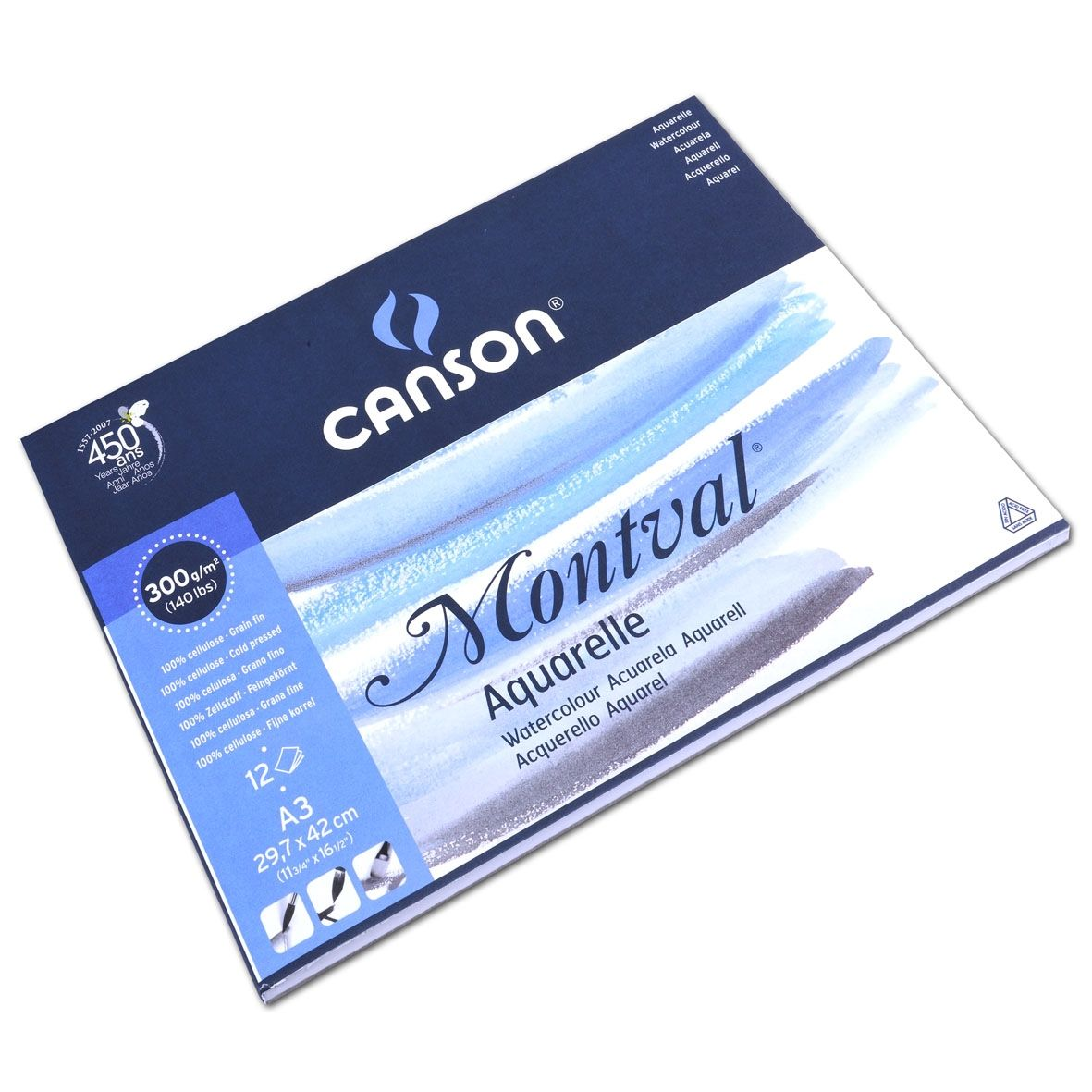 Canson Montval Pad 300 Gsm Fine Grain Cold Pressed 12 Sheets A3