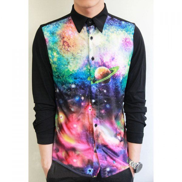 British Style Shirt Collar Starry Sky Color Splicing Long Sleeves Polyester  Shirt For Men