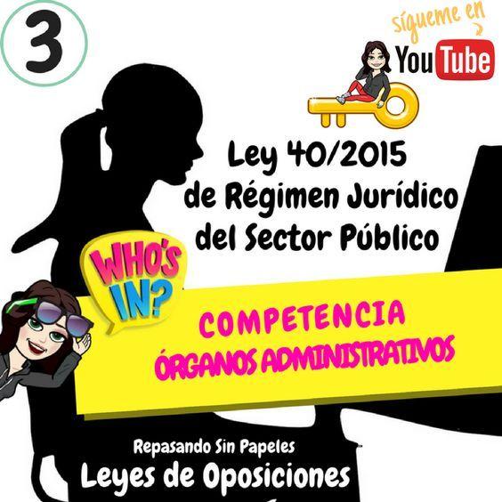 Artículos 8 14 Ley 40 2015 Competencia órganos Administrativos Ley 40 2015 De Régimen Jurídico Del Sector Público Oposiciones Aux Oposicion Juridico Ley