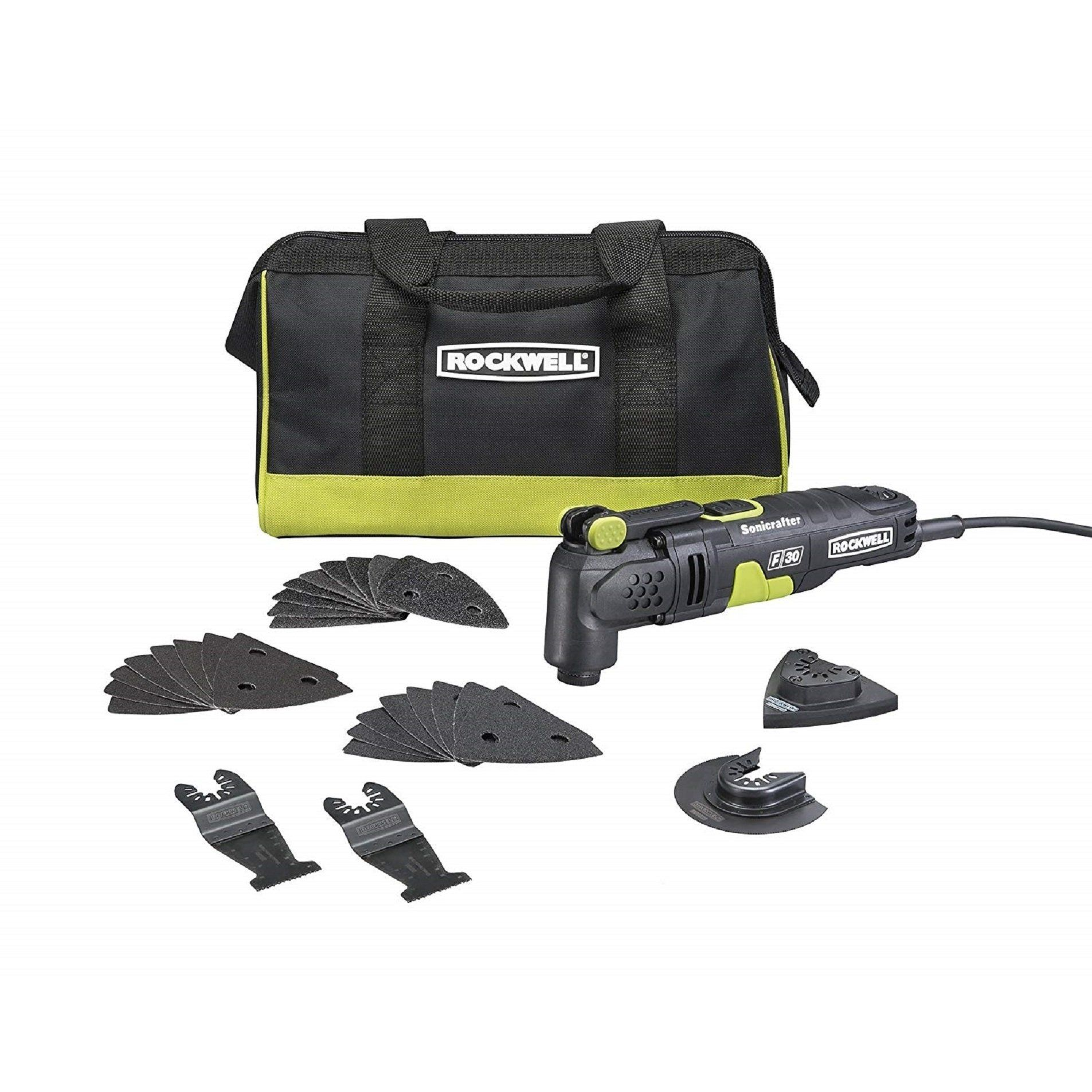 Rockwell Rk5132k 3 5 Amp Sonicrafter F30 Oscillating Multi Tool With 32 Accessories And Carry Bag Multitool Oscillating Tool Bags