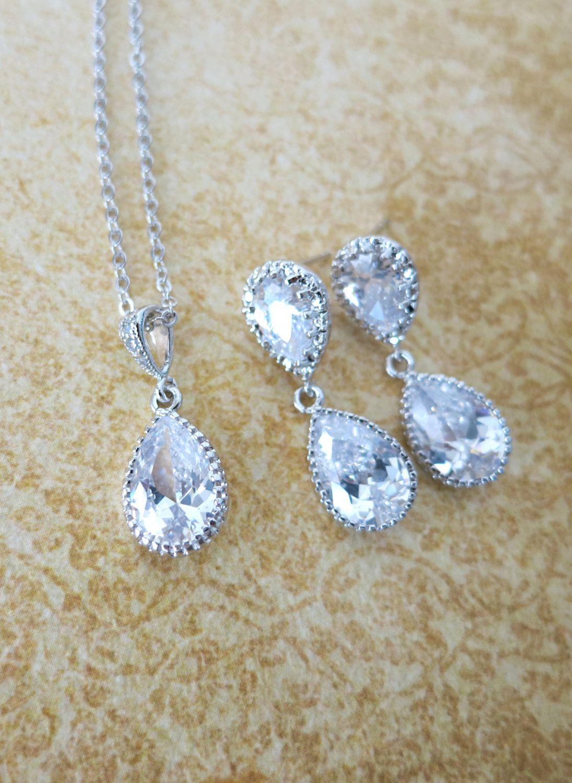 Darcy wedding jewelry set bridal necklace by glitzandlove