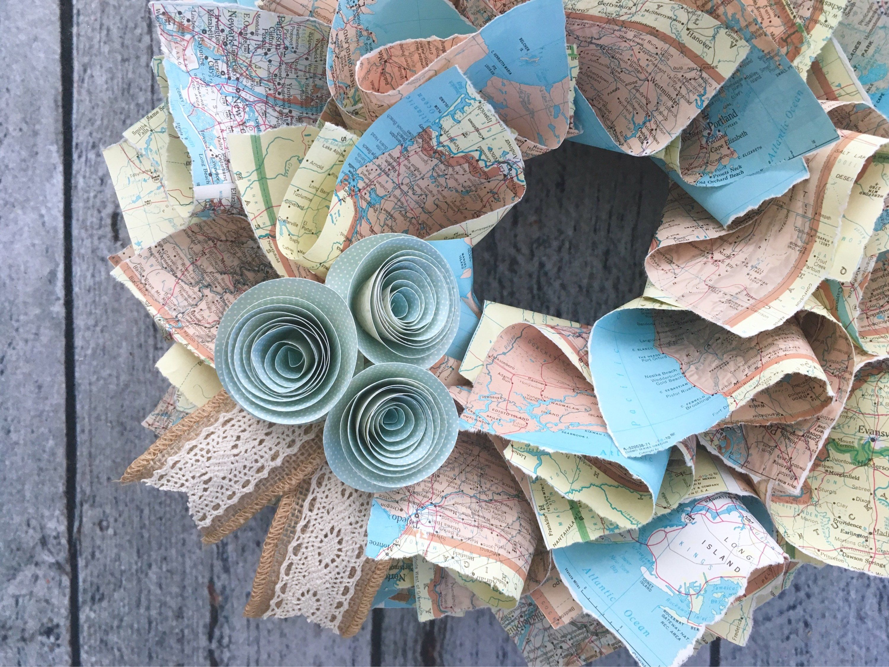 Map Wreath USA Map Canada Map Northern Hemisphere Atlas Wreath - Usa hemisphere