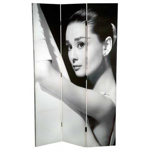audrey hepburn black white room divider folding screen Home