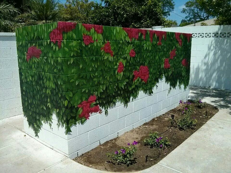 Poolside cinder block wall outdoor hand painted mural ...