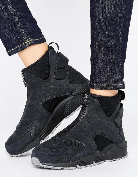buy popular ad5fd 7147d Nike Air Huarache Run Premium Mid Trainers In Black Blackblack. Trainers  by Nike, Leather upper, Zip fastening, Branded strap, Heel pull tab.