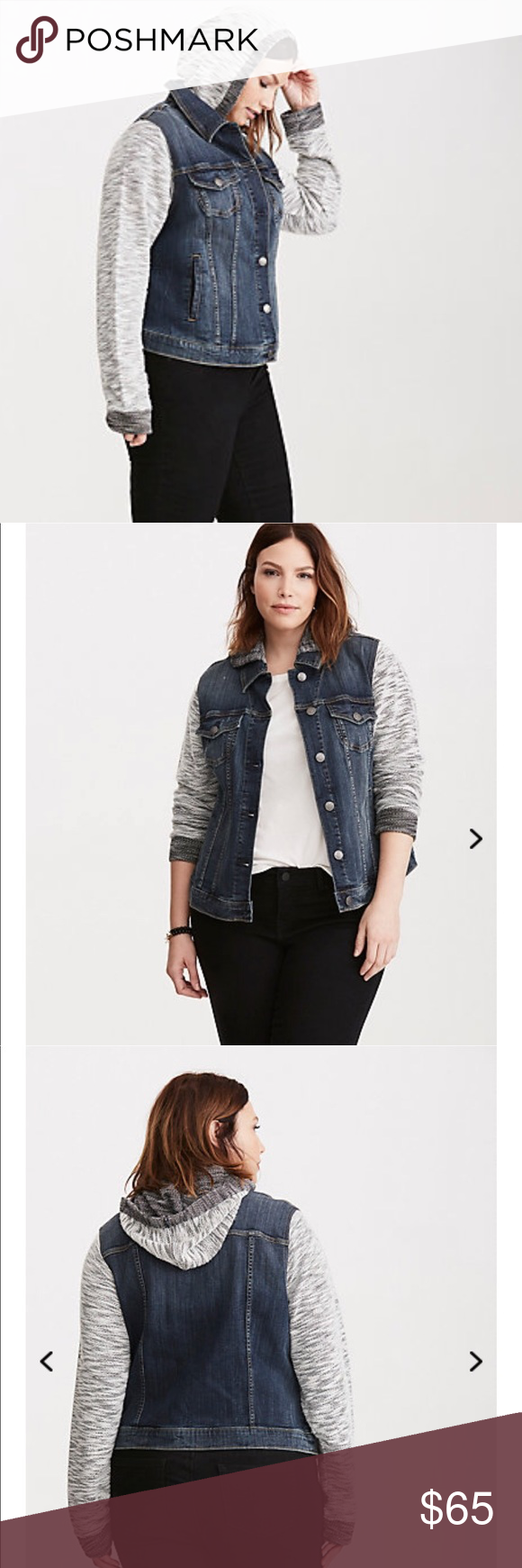 Torrid Denim French Terry Jacket French Terry Jacket Jackets Hooded Denim Jacket [ 1740 x 580 Pixel ]