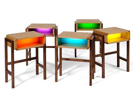 Table de chevet avec veilleuse intégrée en différents cloloris ...