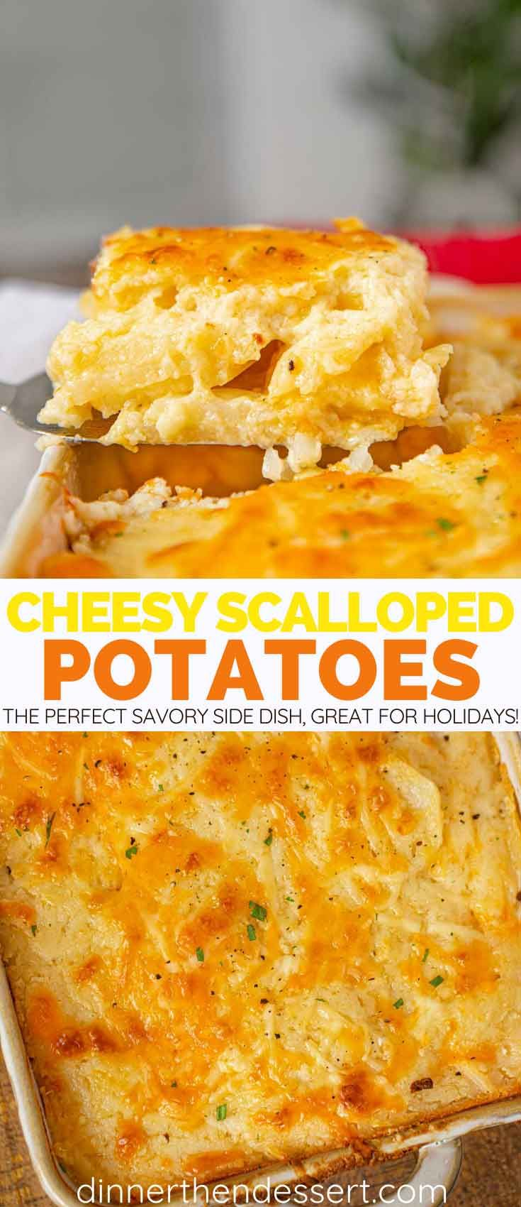 Scalloped Potatoes made with sliced potatoes, cream, and butter are the perfect side dish for the holidays or to bring to a potluck! #sidedish #potatoes #cheese #cheesy #dinnerthendessert #thanksgiving #christmas #holidays