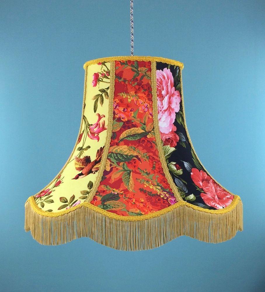 Vintage Patchwork Handmade Lampshade Floral Bird Design Standard