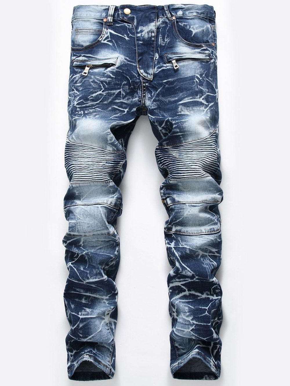 Mens Biker Jeans Retro Vintage Washed Pleated Jean Jeans