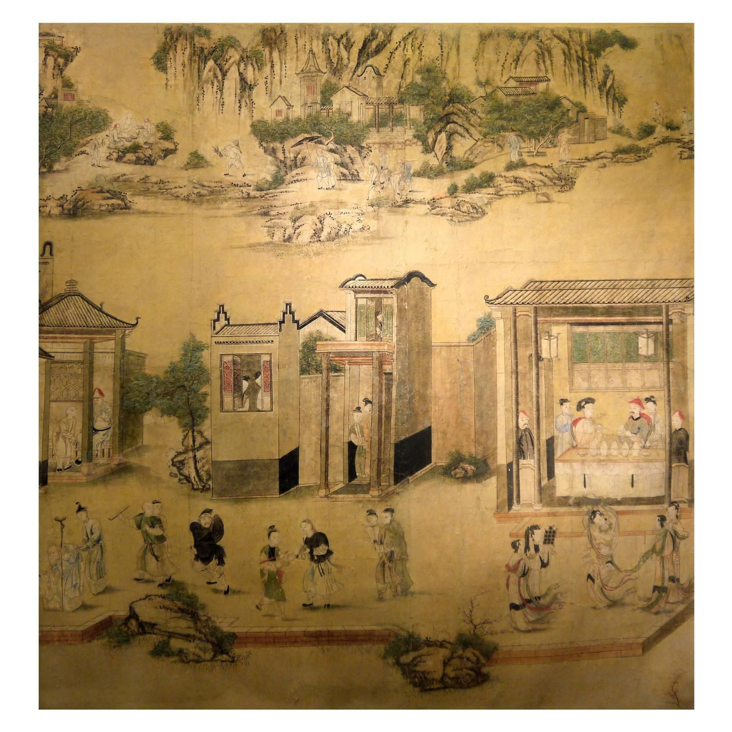 Large 19th Century Chinese Hand-Painted Landscape Scene | From a ...