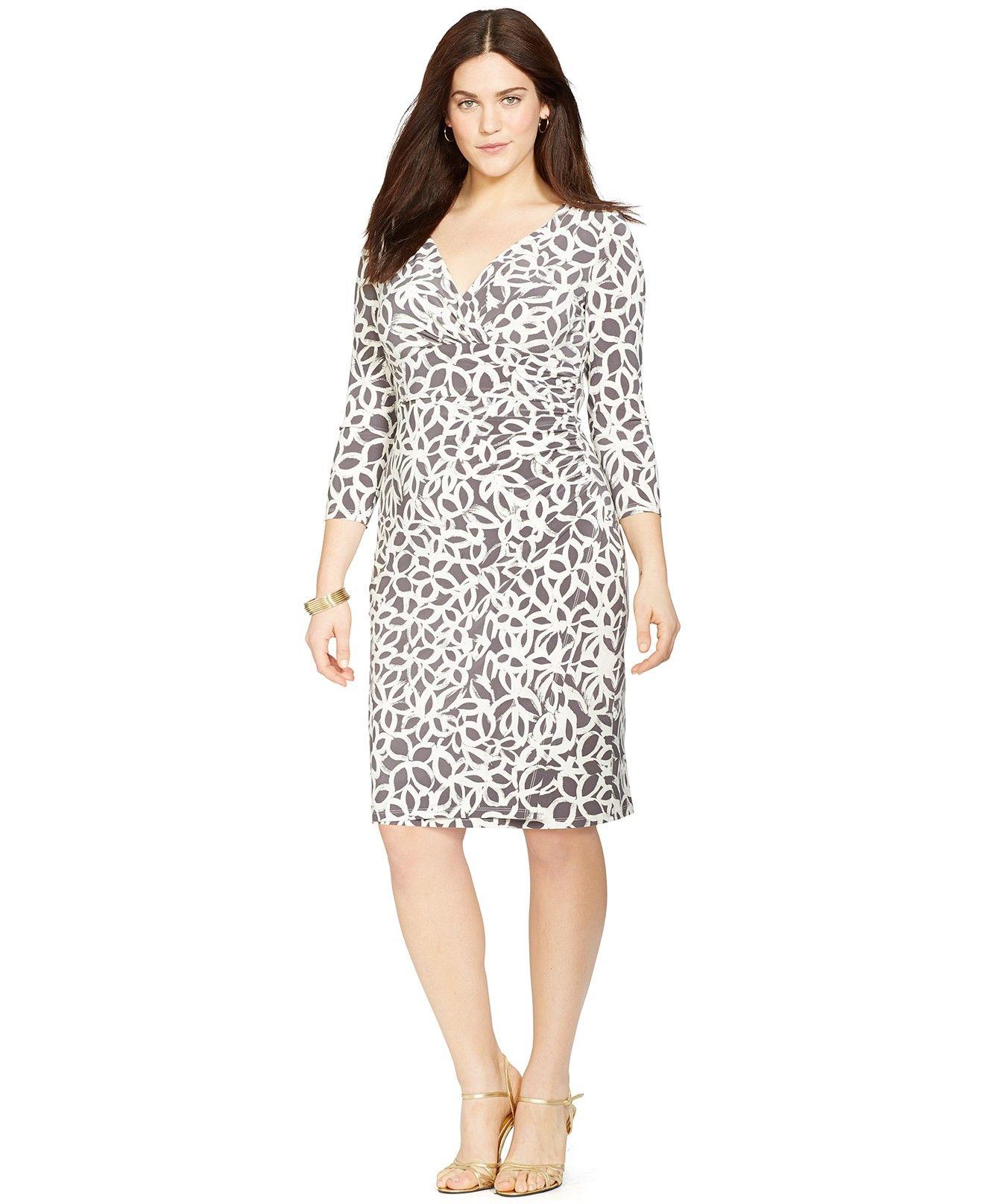 Lauren Ralph Lauren Plus Size Printed Faux Wrap Dress Dresses