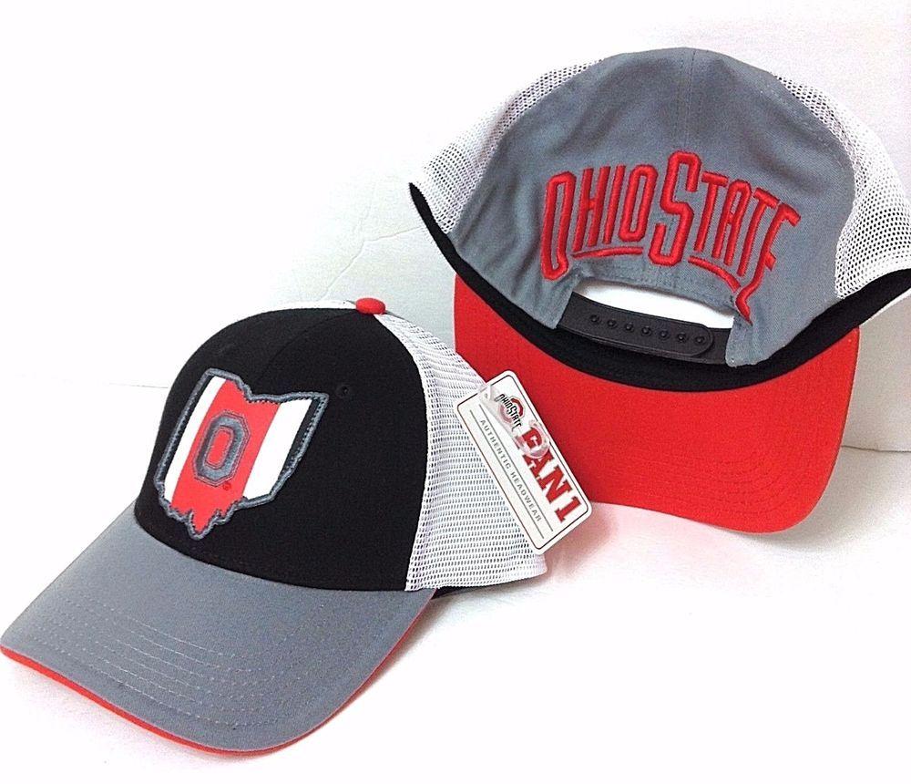 dce421e59fe OHIO STATE OUTLINE OSU BUCKEYES HAT Red Gray Curved-Bill Snapback Mesh  Men Women  Fan1  OhioStateBuckeyes