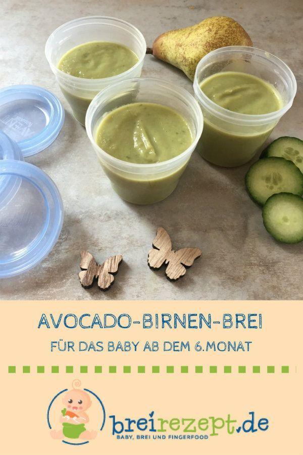 Avocado-Birnen-Brei mit Gurke #baby