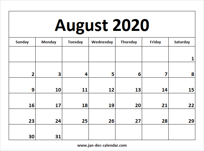 Calendar Aug 2020 August 2020 Calendar | January December Calendar | September