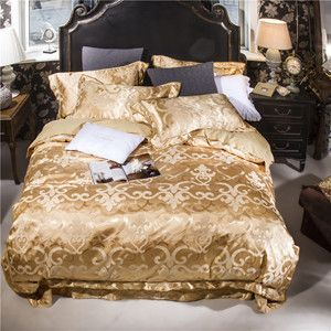Papa&Mima Golden European Print 4Pcs Queen/King Size Bedding Sets Silk Cotton Fabric Jacquard Technics Flat Sheet Set Bedlinens