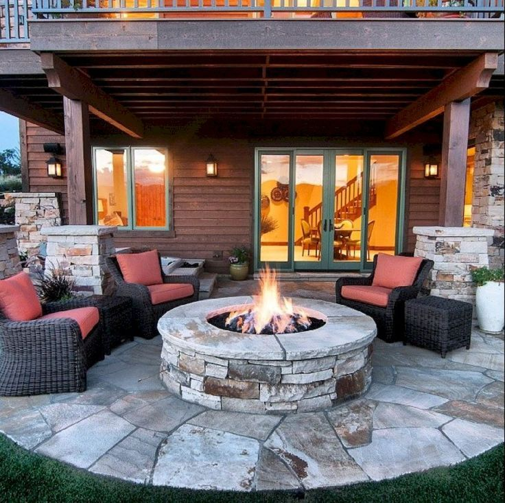 75 Easy DIY Fire Pit for Backyard Landscaping Ideas - Wholehomekover #backpatio