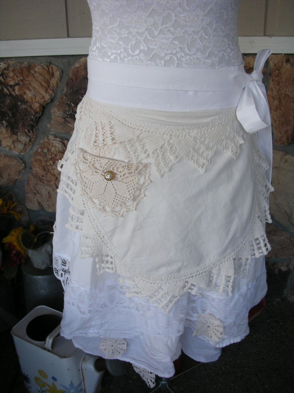 White half apron vintage - Aprons Womens Half Apron White Lace Aprons Jane Austin Apron Handmade Apron