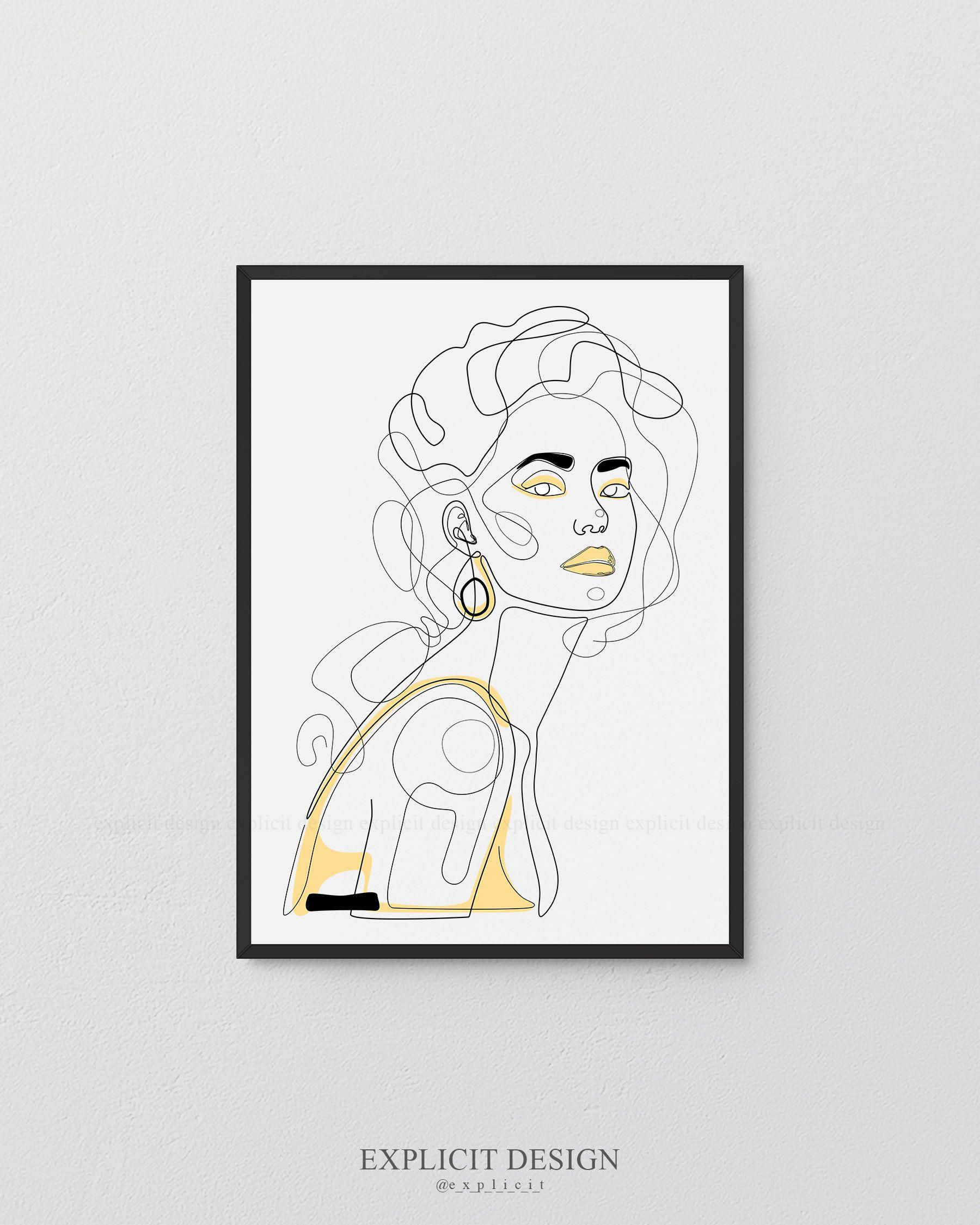 Fille imprimable portrait ligne illustration minimalisme | Etsy