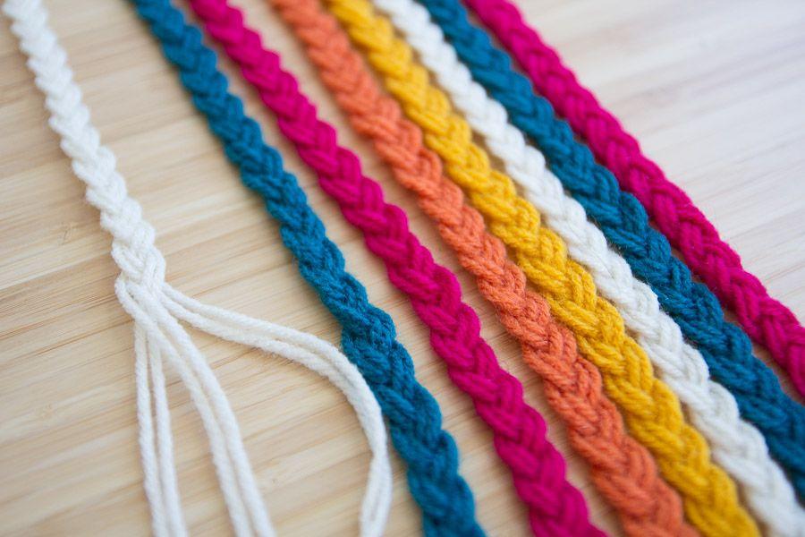 Diy braided yarn table runner diy braids yarn bracelets