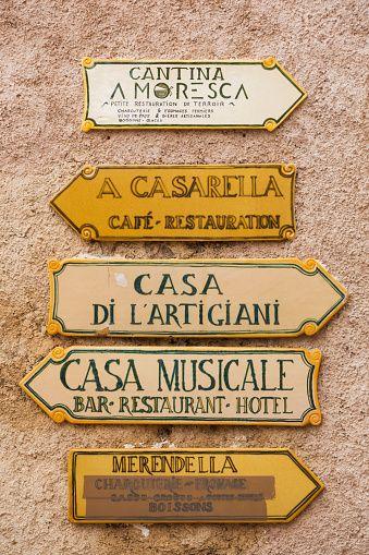 France, Corsica, France, HauteCorse Department, La Balagne Region, Pigna, artisanal village, village signs