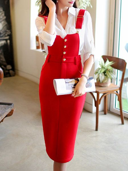 Red Sweet Polyester Midi Skirt