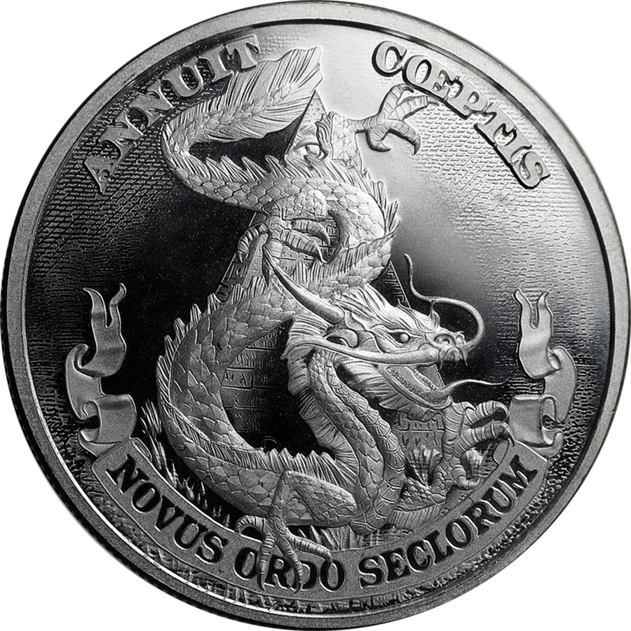 The 2017 Dragon Dollar 1oz Silver Shield Round is the newest in the MiniMintage Silver Shield series, and features a fierce Chinese Dragon on the obverse.  The reverse of the coin bears the Silver Shield design, along with the year, weight and purity.  Each round weighs 1 Troy Ounce and is 999.0 Fine Silver. Manufactured by the Golden State Mint. Silver round, struck to bullion quality.