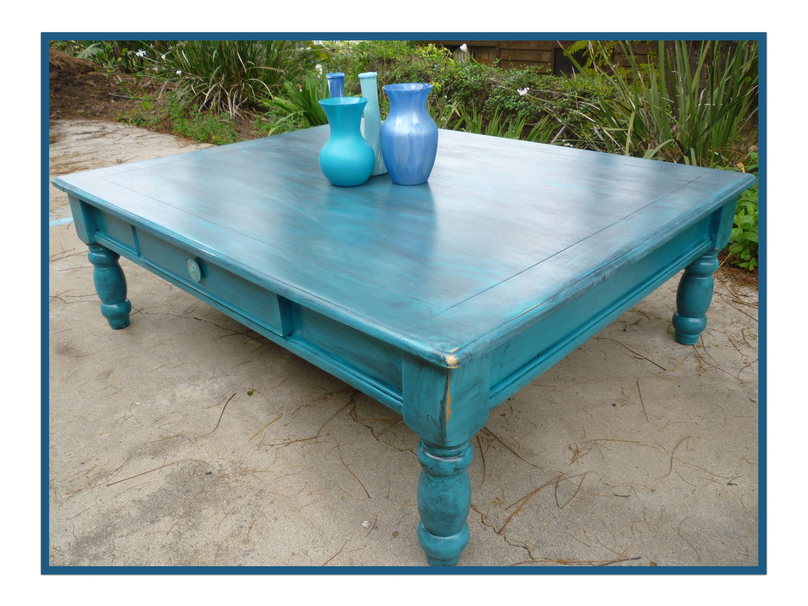 Turquoise Coffee Table With Black Glaze Farm Dining Table