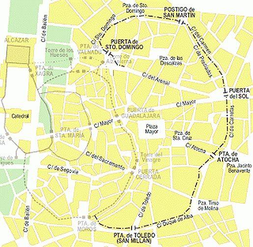 Mapa Puerta Del Sol.Puertas De Madrid Sobre Parcelario Actual Puerta De