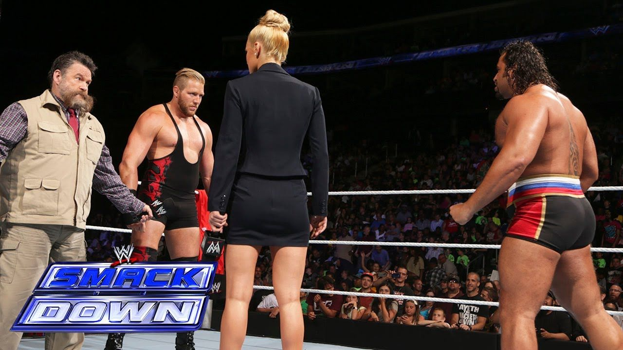 Jack Swagger engages in an in-ring stand-off with Rusev